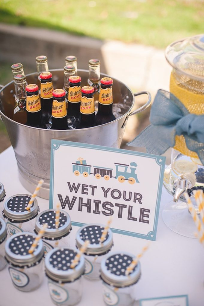 Wet your whistle train party drink station.