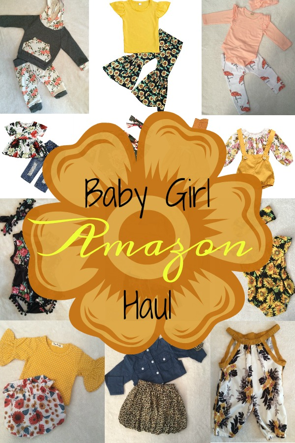 Pinterest graphic with text for Baby Girl Amazon Haul an collage of little girl clothing items from Amazon.