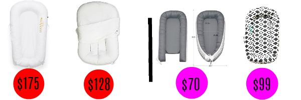 Image graphic with price comparison for two similar baby sleep docks.