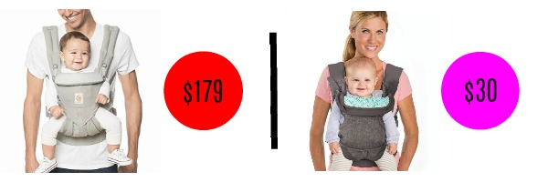 Popular baby carrier price compared to price of similar less expensive option.
