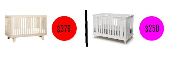 Image graphic comparing price of two similar baby cribs.