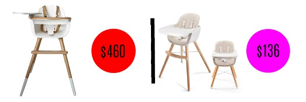 Image graphic with price comparison of two similar high chairs.