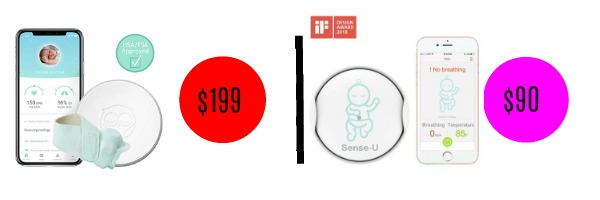 Graphic showing high, low price comparison of two similar baby monitor sensors.