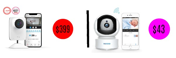 Image graphic comparing price of two similar baby monitors.