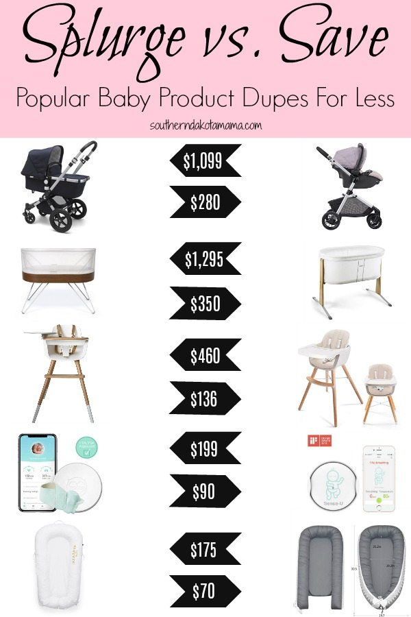 Pinterest graphic with text for Popular Baby Product Dupes for Less and price comparison images.