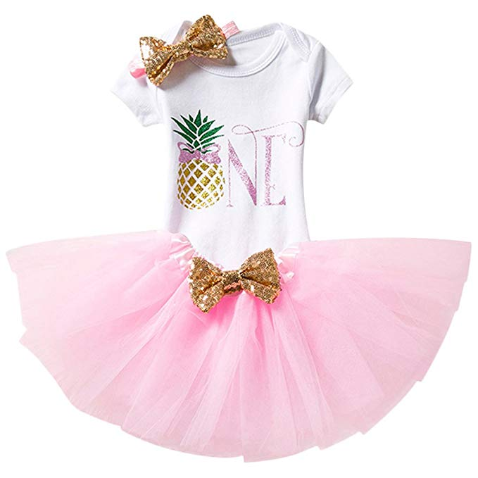 """Pineapple \""""One\"""" onesie outfit with pink tutu for little girl first birthday."""