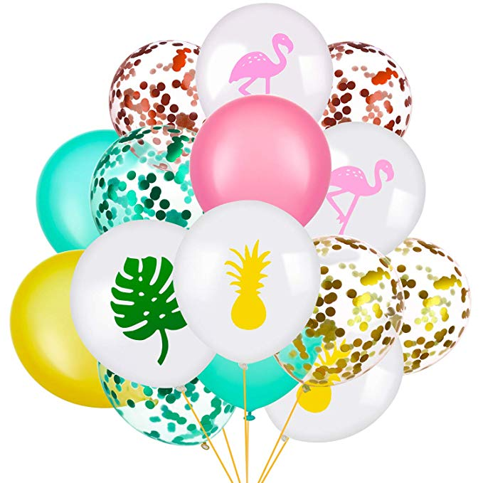 Tropical balloons with confetti, flamingos, palm leaves and pineapples.