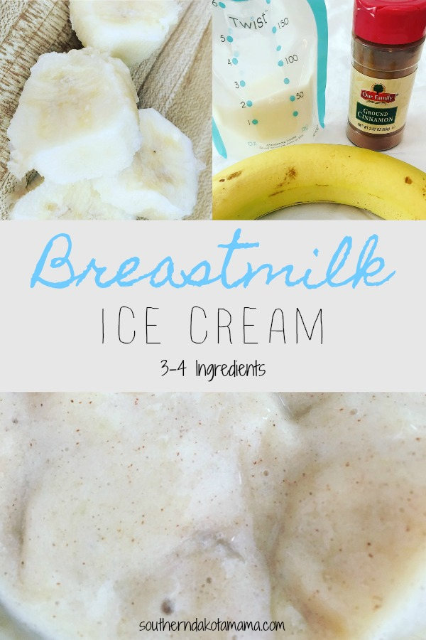 Pinterest graphic with text for Breastmilk ice cream and breast milk ice cream ingredients.