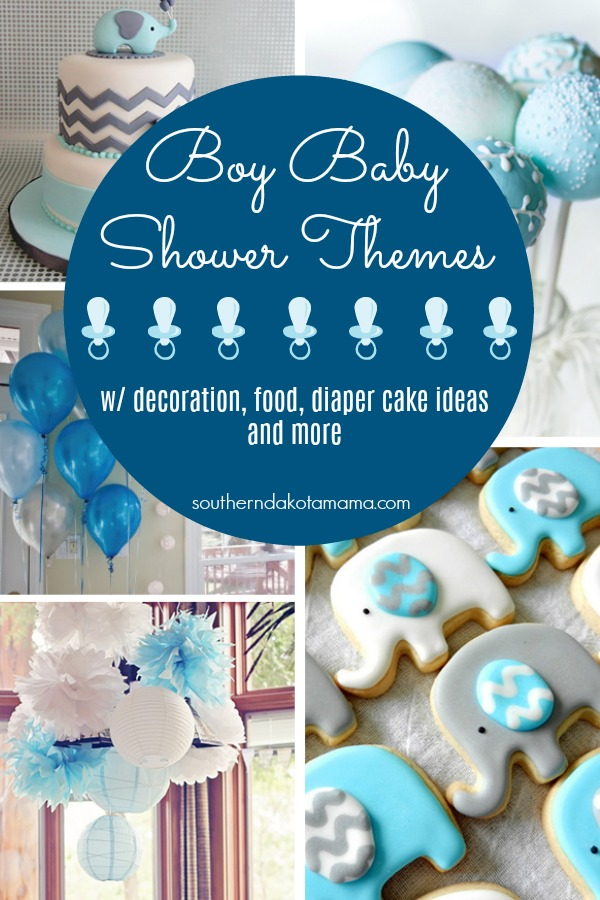 Pinterest graphic with text for Boy Baby Shower Themes and collage of baby shower them ideas for boys.
