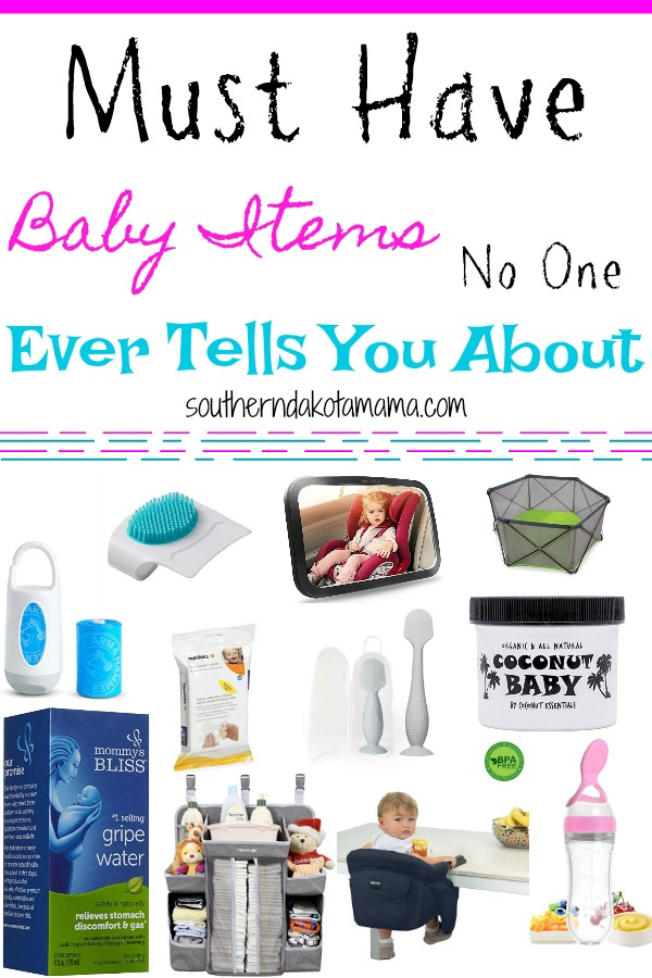 Pinterest graphic with text for Baby Items No One Ever Tells You About and collage of baby items.