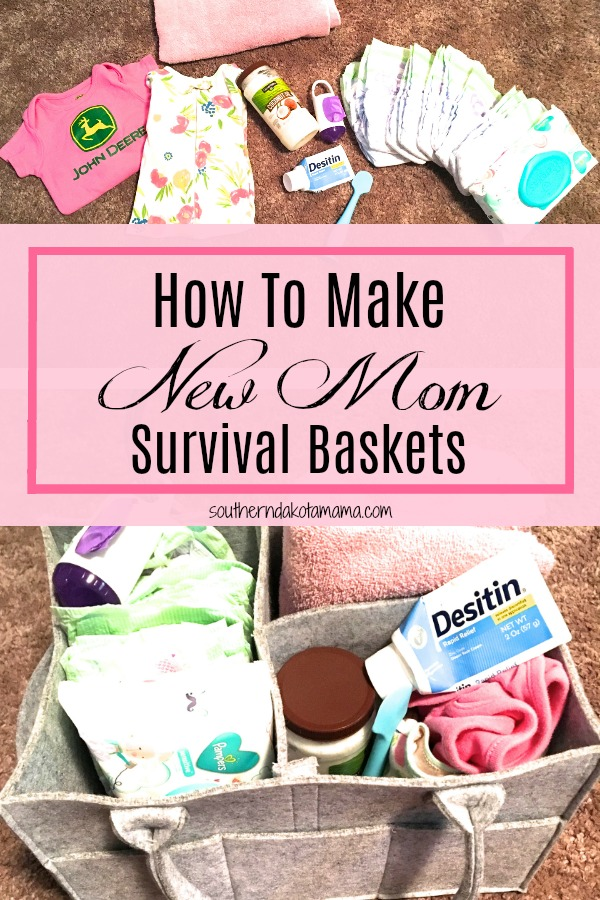Pinterest graphic with text for How to Make New Mom Survival Baskets and collage of baby and postpartum products.