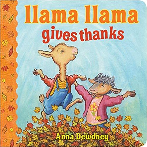 Llama Llama gives thanks book for kid\'s library.