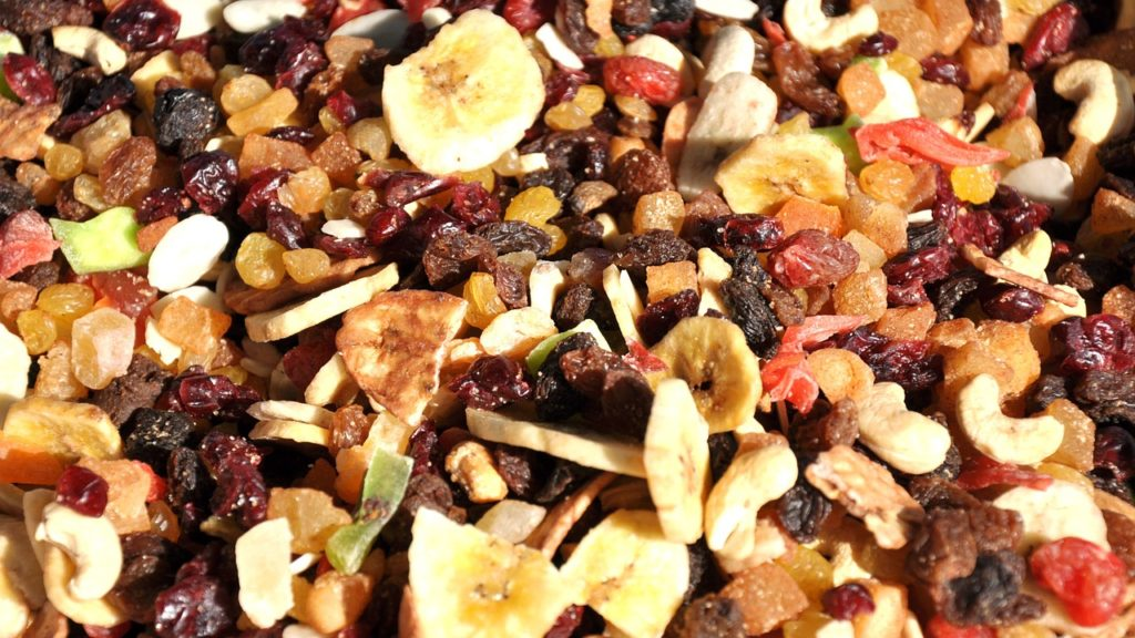 Trail mix with freeze dried bananas.
