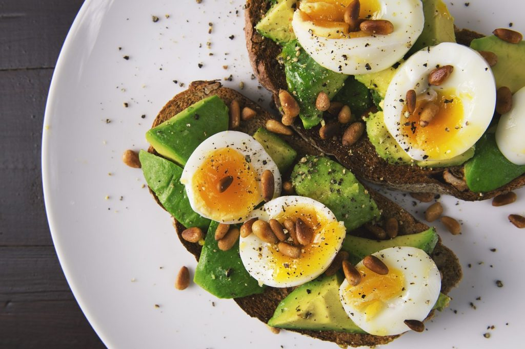 Avocado toast with boiled egg.