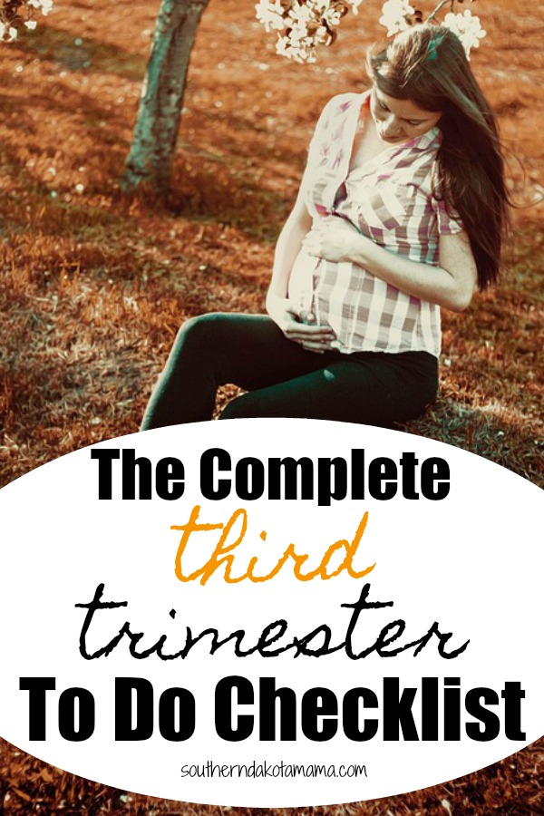 Pinterest graphic with text for Third Trimester To Do Checklist and pregnant woman sitting next to tree.