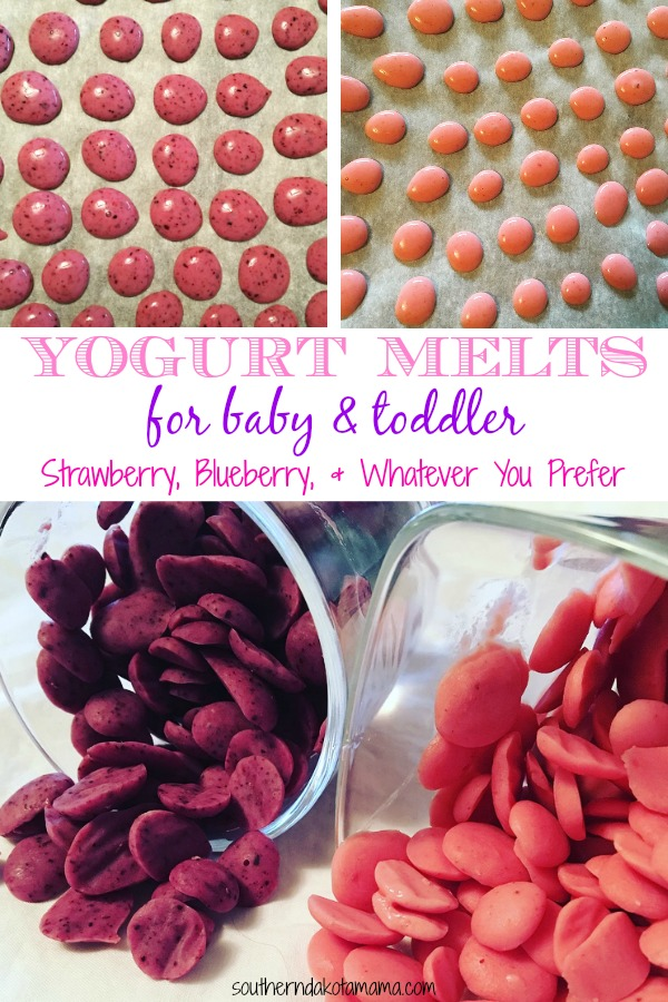 Pinterest graphic with text for Yogurt Melts for Baby and Toddler and collage of yogurt melts.