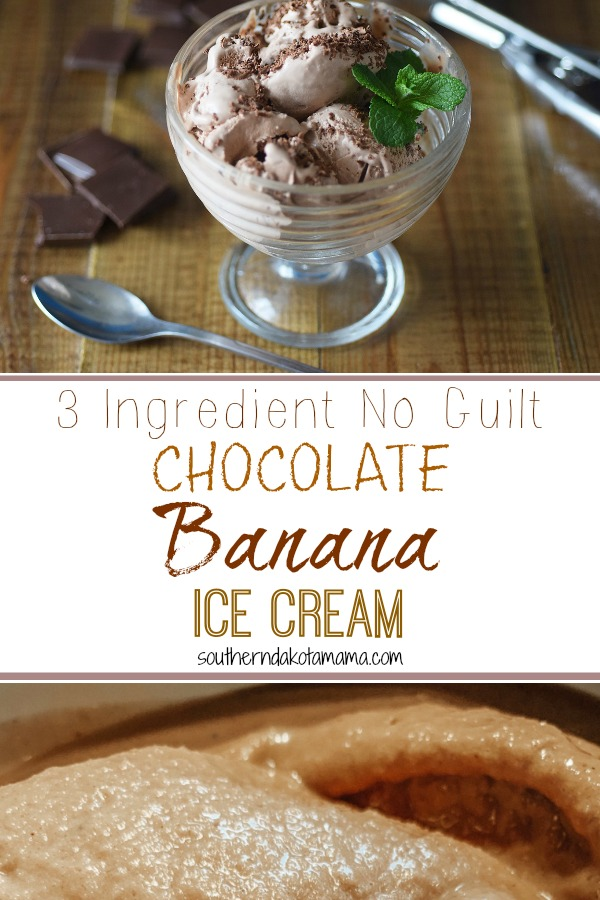 Pinterest graphic with text for Chocolate Banana Ice Cream and ice cream in glass serving dish.
