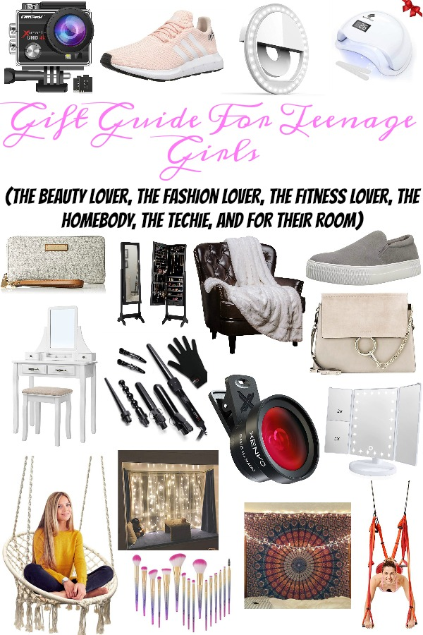 Pinterest graphic with text for Gift Guide for Teenage girls and collage of girly products.