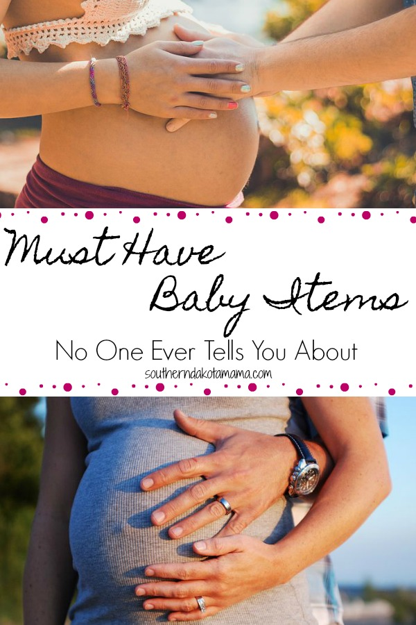 Pinterest graphic with text for Must Have Baby Items and collage of pregnant bellies.