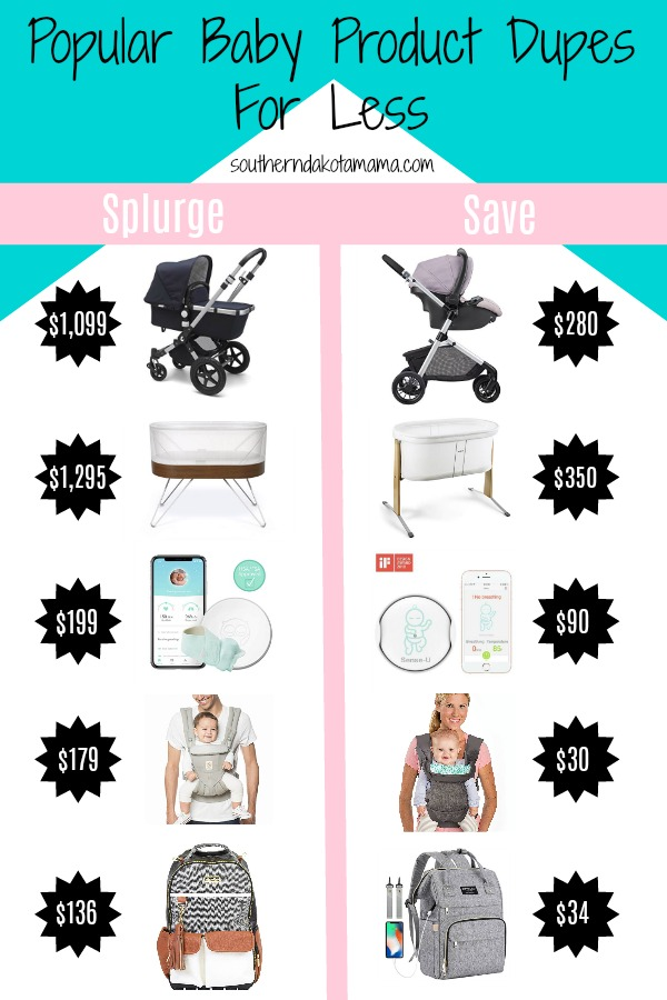Pinterest graphic with text for Popular Baby Product Dupes for Less and price comparison product images.