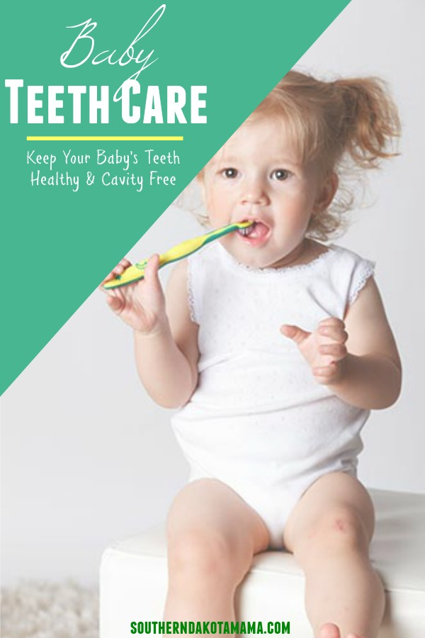 Pinterest graphic with text for Baby Teeth Care and toddler girl brushing teeth.