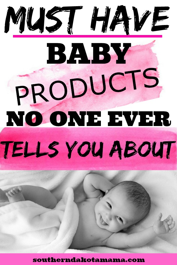 Pinterest graphic with text for Must Have Baby Products and baby smiling at camera.
