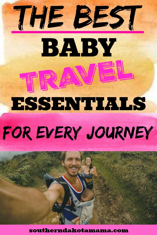 Pinterest graphic with text for Baby Travel Essentials and couple hiking with baby.