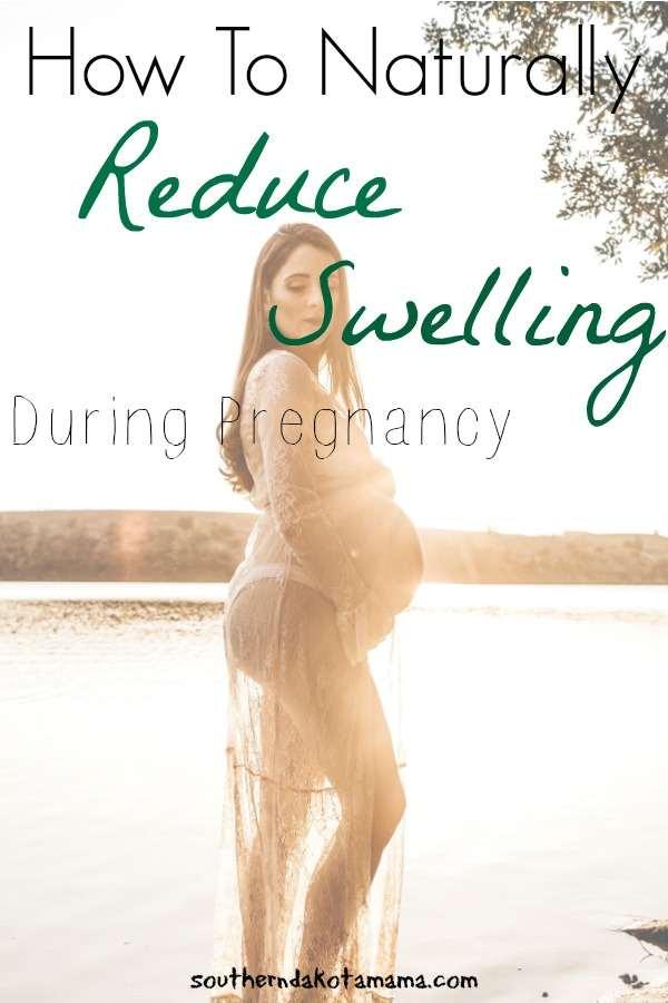 Pinterest graphic for how to Naturally Reduce Swelling During Pregnancy and pregnant woman on beach.