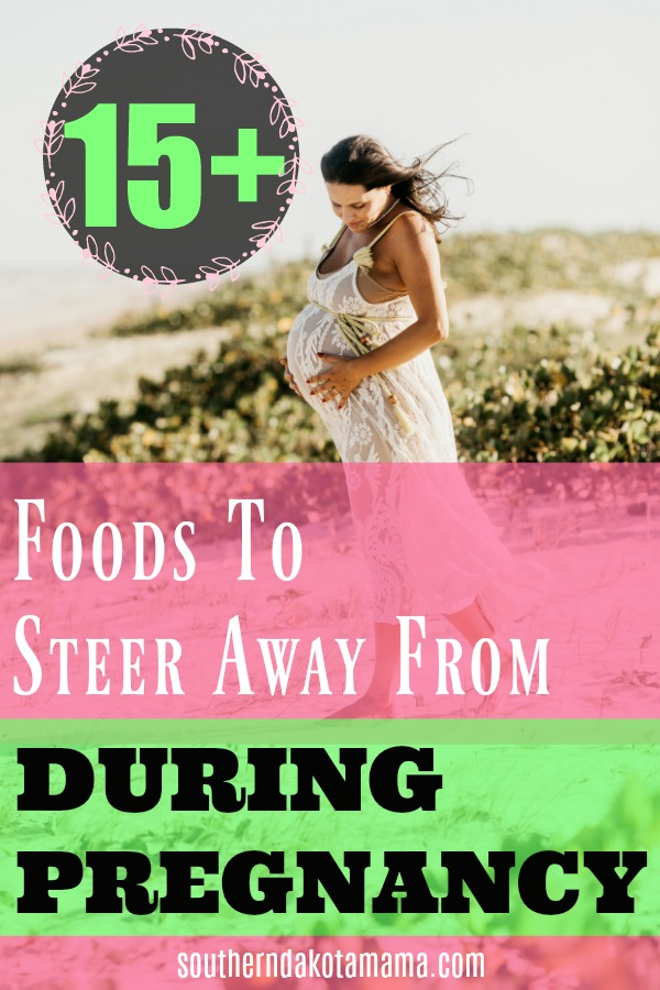 Pinterest graphic for Foods to Steer Away From During Pregnancy and pregnant woman walking on beach.