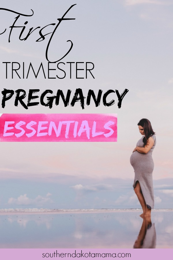 Pinterest graphic with text for First Trimester Pregnancy Essentials and pregnant woman on beach.
