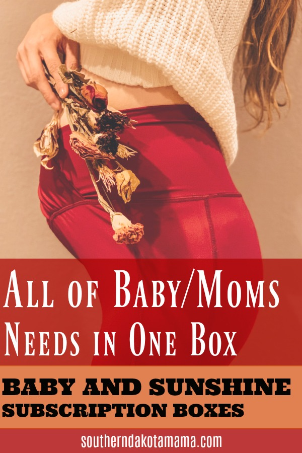 Pinterest graphic with text for Baby And Sunshine Subscription Boxes and woman holding dried bouquet of flowers.