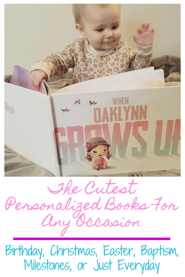 Pinterest graphic with text for Personalized Books for Any Occasion and toddler girl reading book.