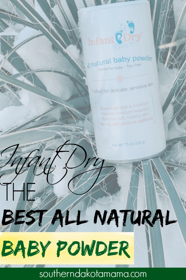 Pinterest graphic with text for Infant Dry Natural Baby Powder and product image.