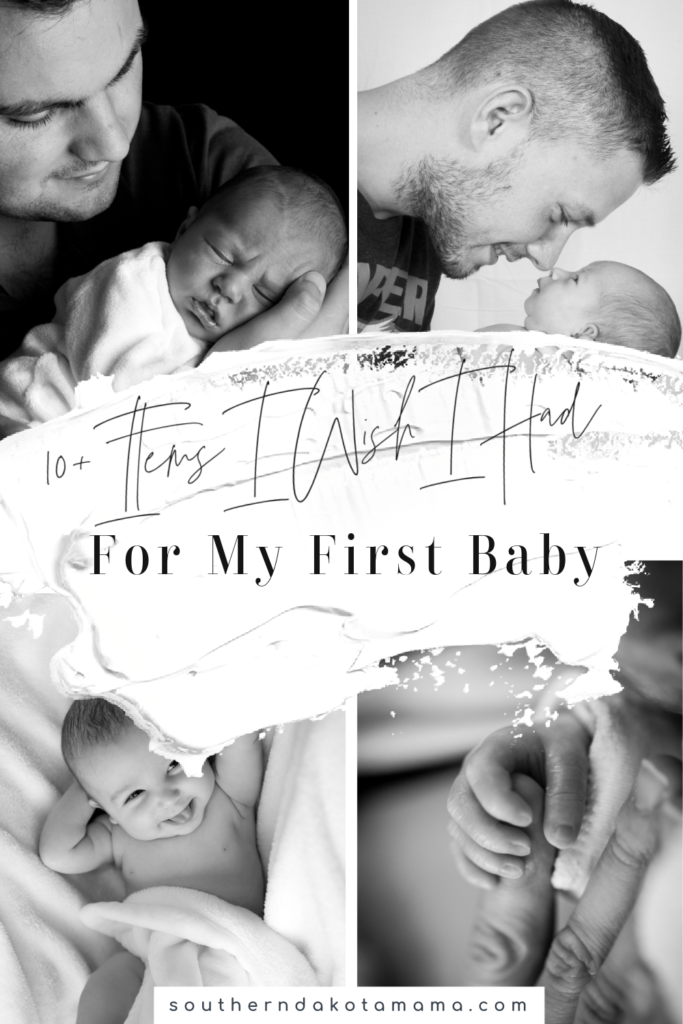 """Pinterest graphic for \""""Items I Wish I Had For My First Baby\"""" and collage of black and white baby photos."""