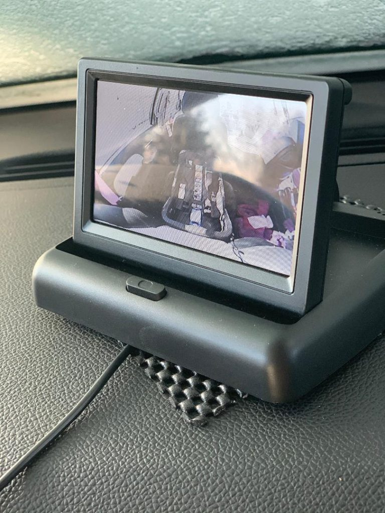 Car camera to see children in back seats of car.